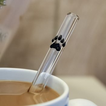 Bear paw accent glass straw