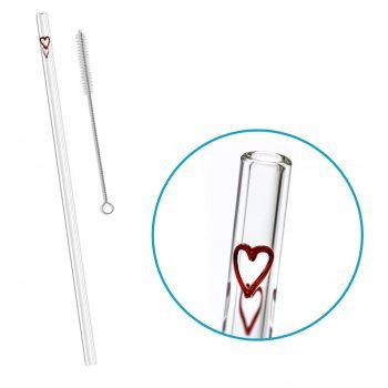 reusable glass straw hearts accent
