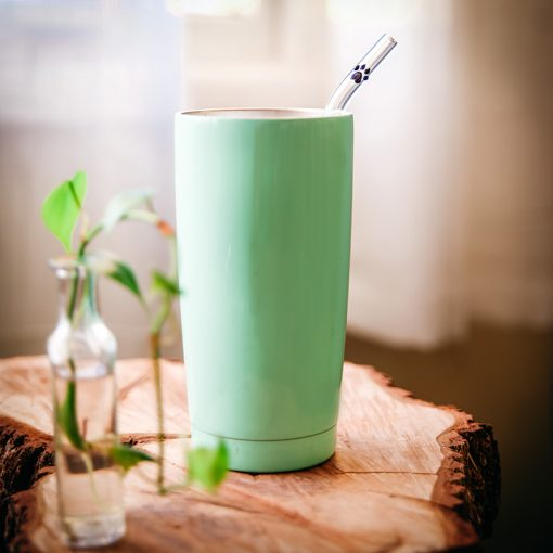 Glass straw with paw print accent in tumbler