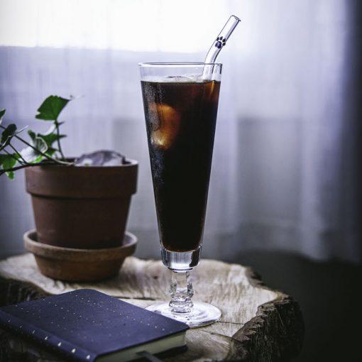 Glass straw with glass paw print accent, curved straw