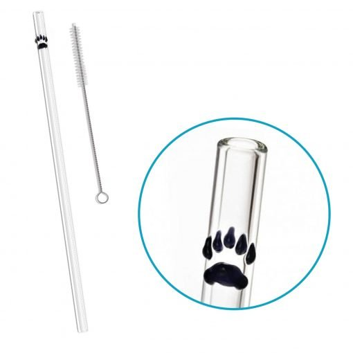 reusable glass straw bear paw accent
