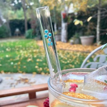 2 Pack Dots Custom Accent Glass Straws with Cleaning Brush