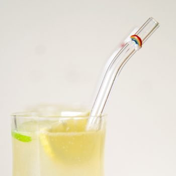 Rainbow accent glass straw, closeup
