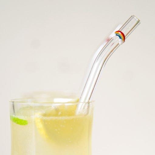 Rainbow accent glass straw, closeup