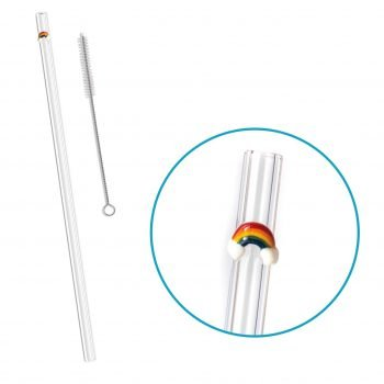 reusable glass straw rainbow accent