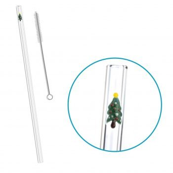reusable glass straw christmas tree accent