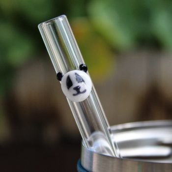 Panda accent glass drinking straw