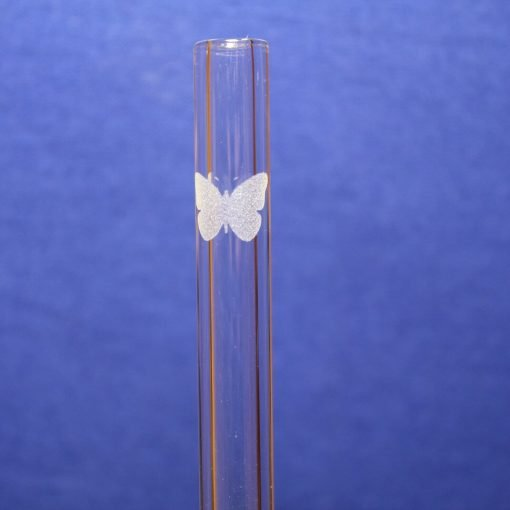 butterfly etched glass straw