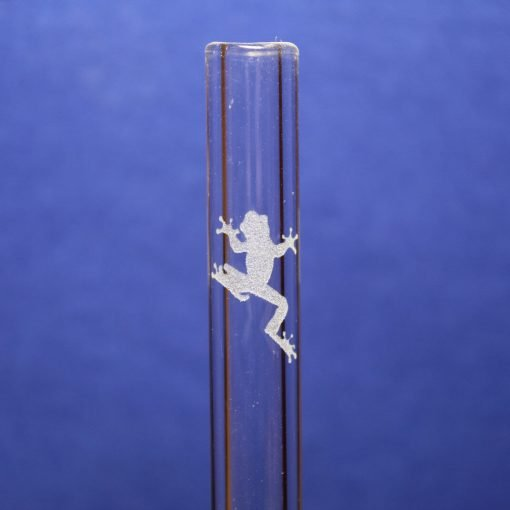 tree frog etched glass straw