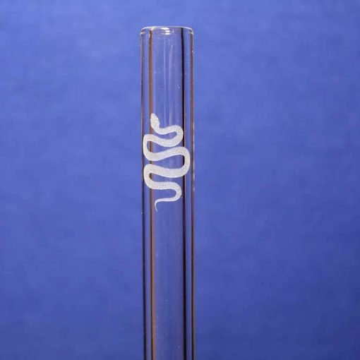 Snake etched glass straw