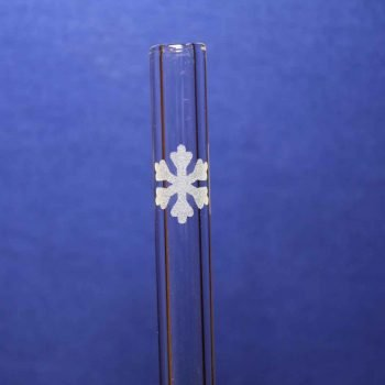 Snowflake etched glass straw