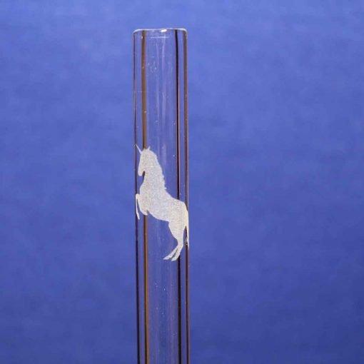 Unicorn dance etched glass straw