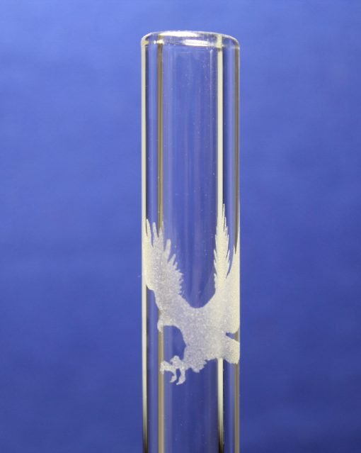 Eagle etched glass straw
