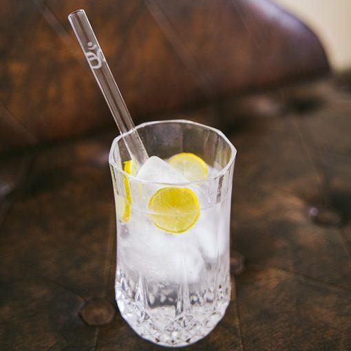 Om symbol etched glass drinking straw