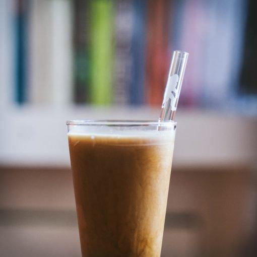 Sasquatch etched glass drinking straw closeup
