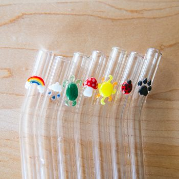 Eco-friendly glass straws with fun glass accents
